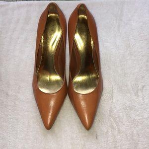 Ralph Lauren 8.5 cognac tan high heel gold trim